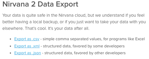 Nirvana 2 Data Export
