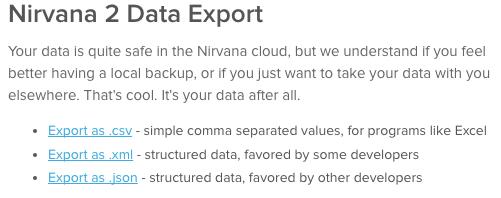 Nirvana 2 Data Export