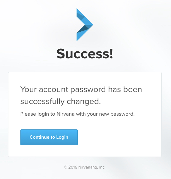 Password change success screen